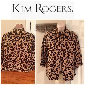 Kim Rogers leopard print 2 button cardigan EUC